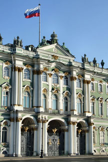 Russian flag flying at the Hermitage Museum in St Petersburg